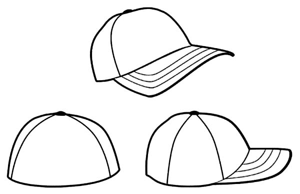 Baseball Cap, : Three Baseball Cap Coloring Page