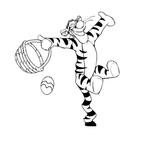 Tigger, : Tigger is so Happy He Found an Easter Egg Coloring Page