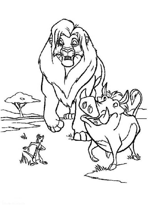 Timon and Pumbaa, : Timon and Pumbaa with Lion King Simba Coloring Page