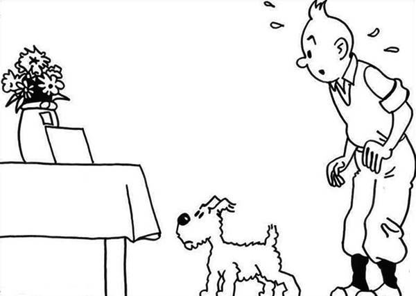 Tintin, : Tintin Find a Message on Table in the Adventures of Tintin Coloring Page