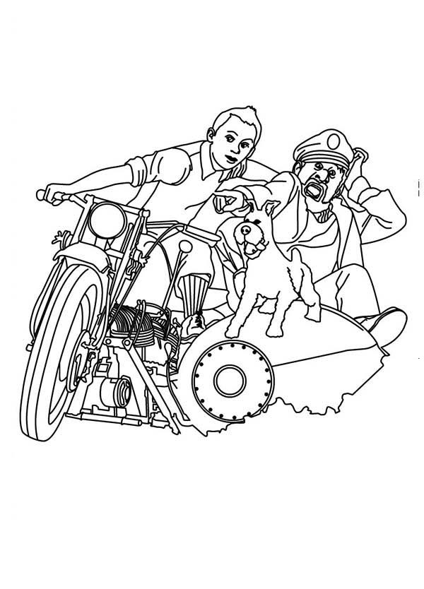Tintin, : Tintin and Captain Haddock Ride Motorcycle in the Adventures of Tintin Coloring Page