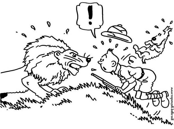 Tintin, : Tintin and Snowy os Surprised Met Lion in the Adventures of Tintin Coloring Page