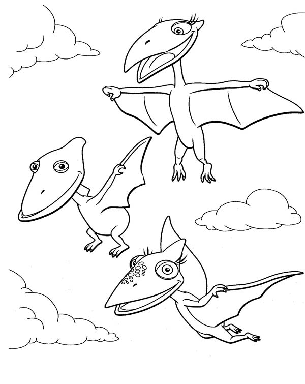 Dinosaurus Train, : Tiny and Shiny and Don Learn to Fly in Dinosaurus Train Coloring Page