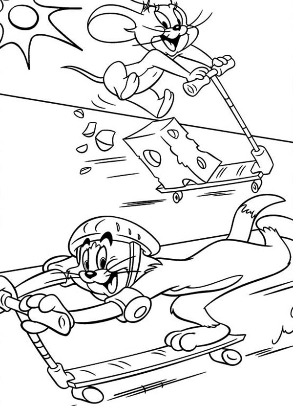 Tom and Jerry, : Tom and Jerry Playing Scooter Coloring Page