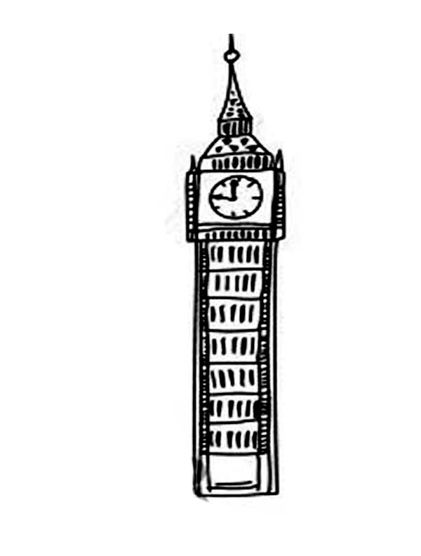 Big Ben, : Tower of Big Ben Coloring Page