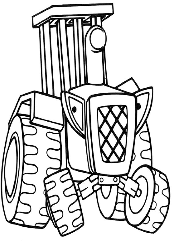 Bob the Builder, : Travis the Tractor Always Want to Help Bob the Builder Coloring Page