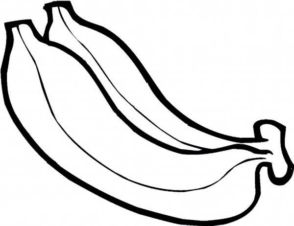 Banana, : Tropical Banana Coloring Page