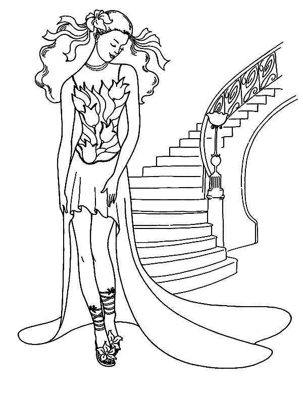 Dress, : Tulips Dress Model Coloring Page