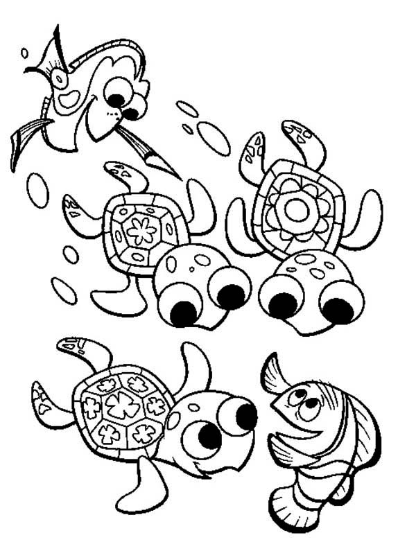 Turtle, : Turtle Talking to Nemo Father Coloring Page
