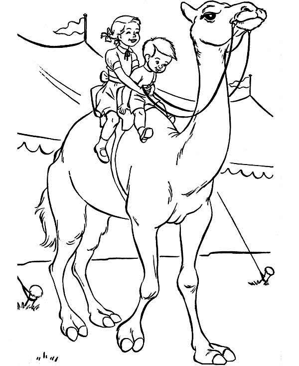 Circus, : Twi Kids Ride a Camel at Circus Coloring Page