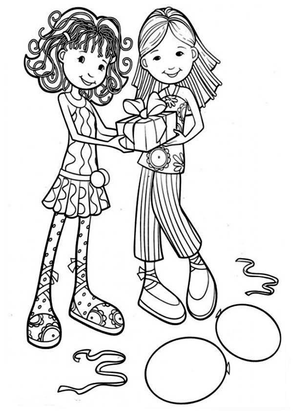 Beautiful Ladies, : Two Beautiful Ladies Holding Bithday Present Coloring Page