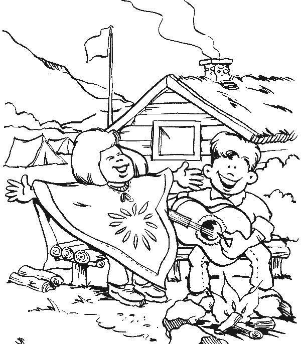 Camping, : Two Boys Singing Together When Camping Coloring Page