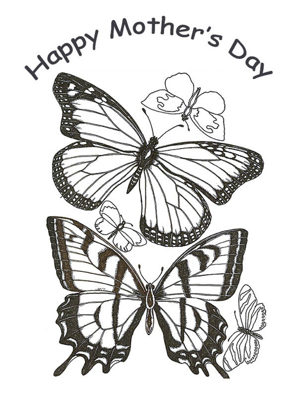 Mothers Day, : Two Butterfly on Happy Mothers Day Coloring Page