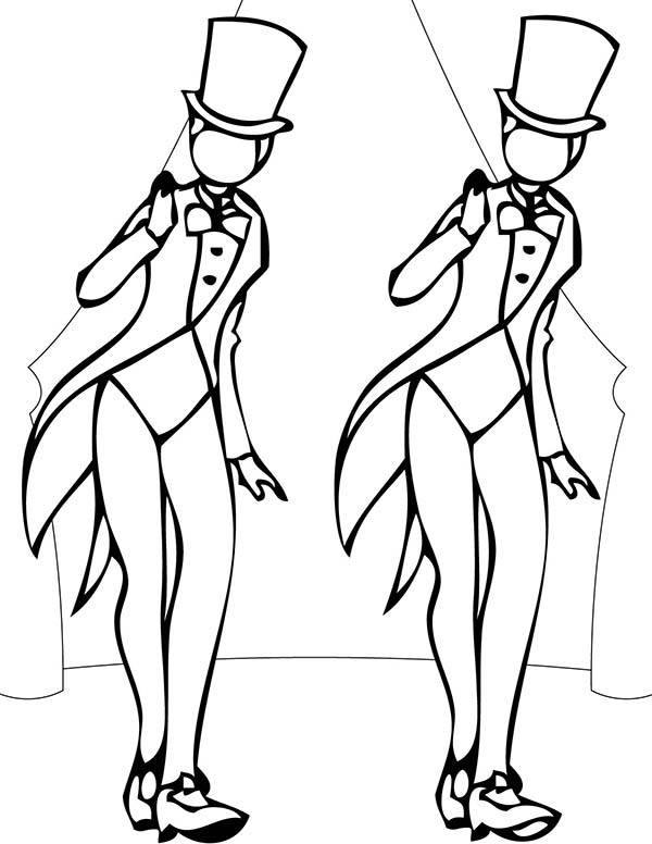 Dance, : Two Girl Performing Tap Dance Coloring Page