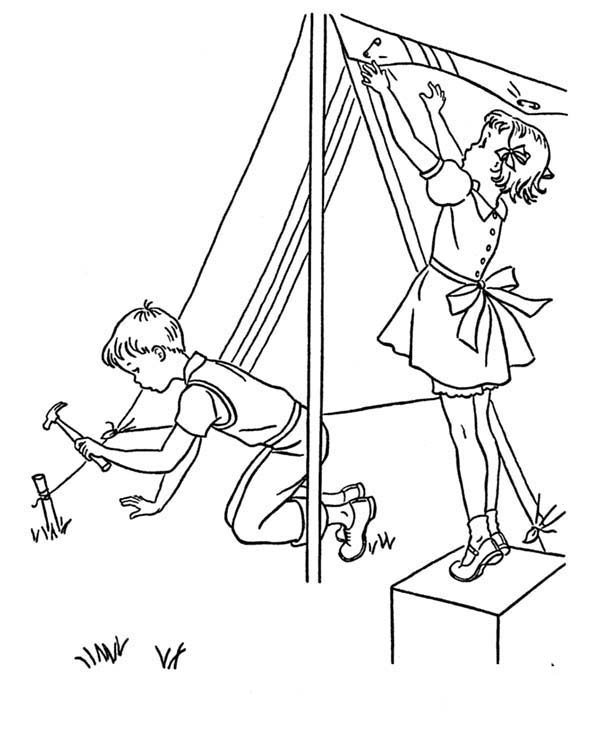 Camping, : Two Kids Building Camping Tent Coloring Page