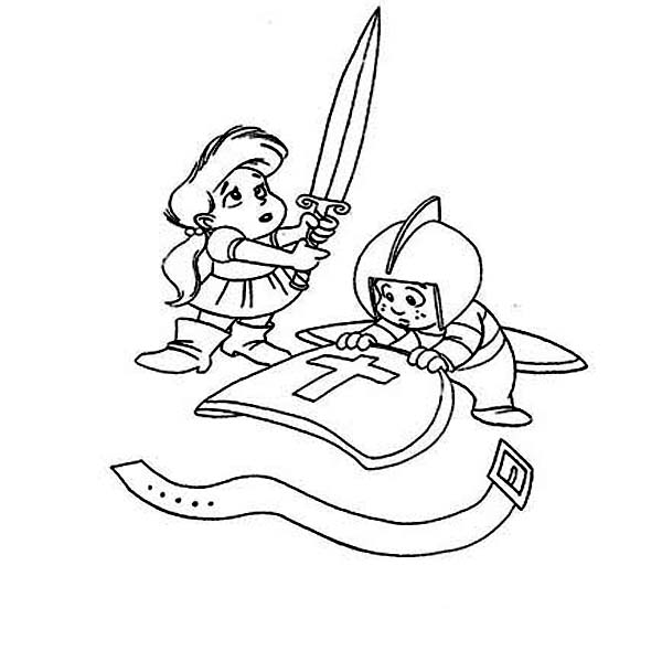Armor of God, : Two Kids Playing with Armor of God Coloring Page