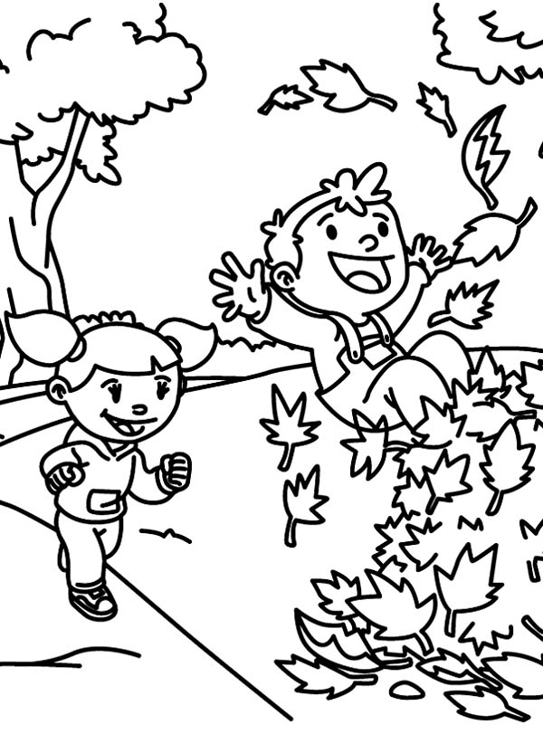 autumn two little happy kids lay in stack of autumn leaves coloring page two