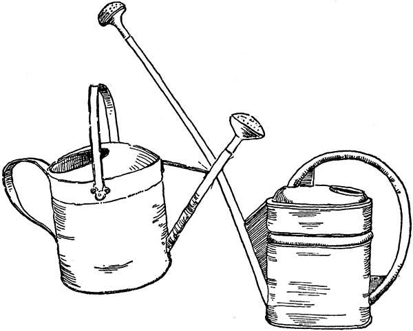 Watering Can, : Two Watering Can Coloring Page