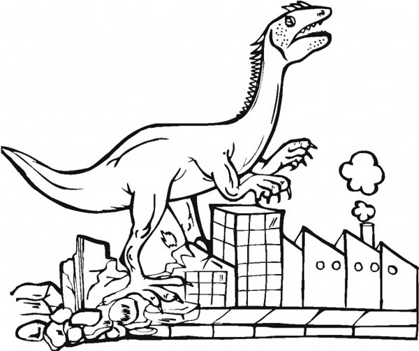 City, : Tyrannosaurus Destroying City Coloring Page