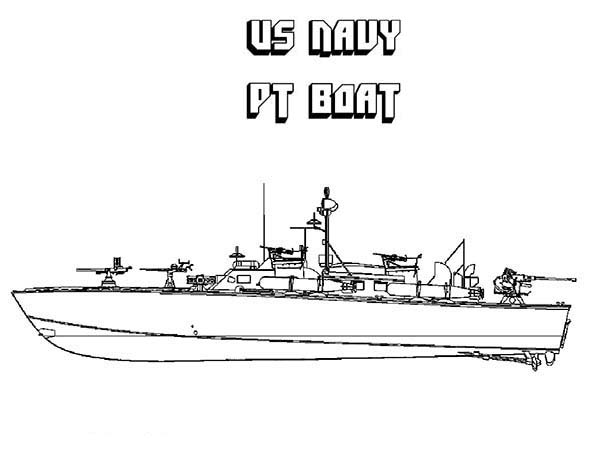 Boat, : US Navy PT Boat Coloring Page