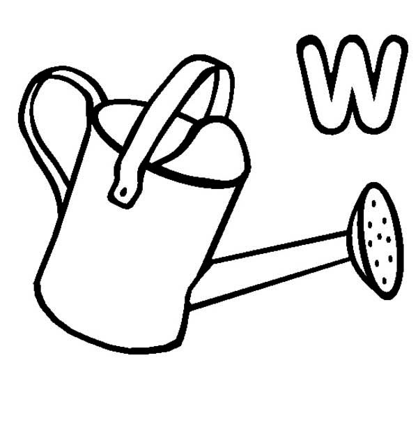 Watering Can, : W is for Watering Can Coloring Page
