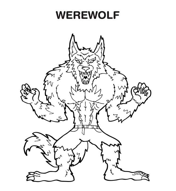 W is for Werewolf Coloring Page | Coloring Sun