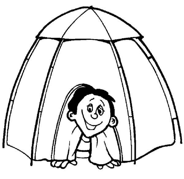 Camping, : Wake Up in the Morning from Camping Tent Coloring Page