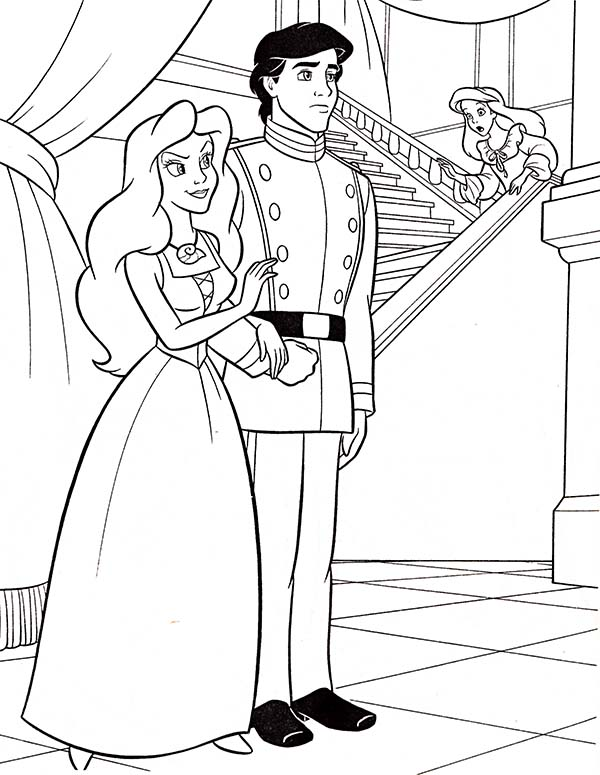 Ariel, : Walt Disney Ariel and Prince Eric Coloring Page