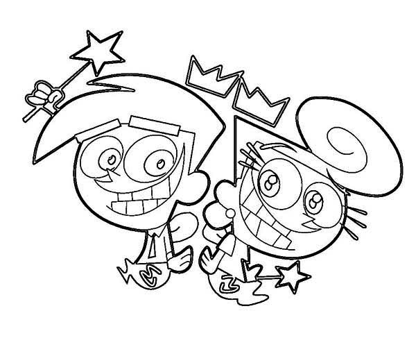 Wanda and Cosmos Big Grin in the Fairly Odd Parents Coloring Page