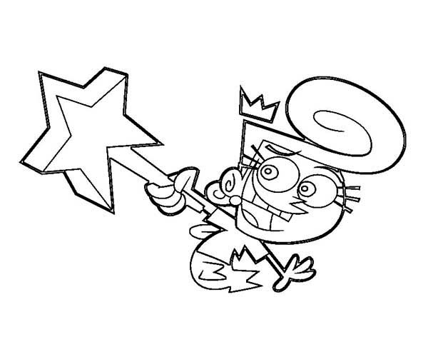 wanda and her magic wand in the fairly odd pas coloring page
