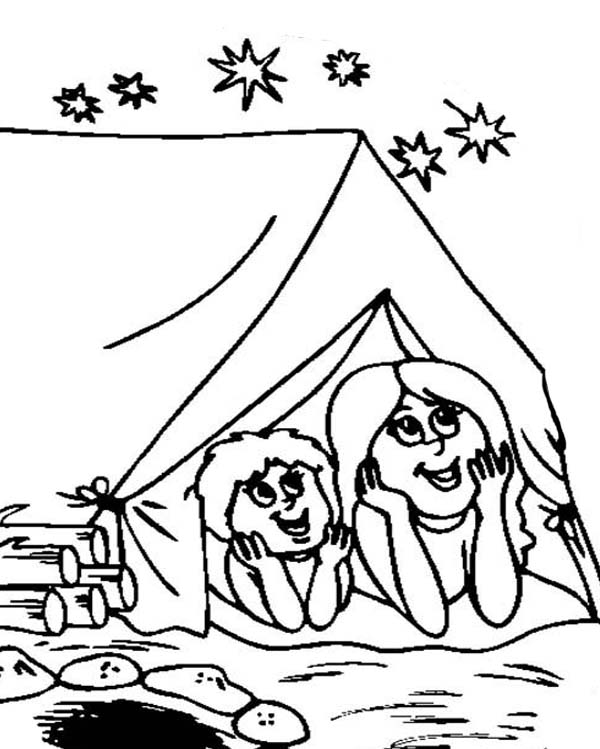 Camping, : Watching Stars When Doing Camping Coloring Page