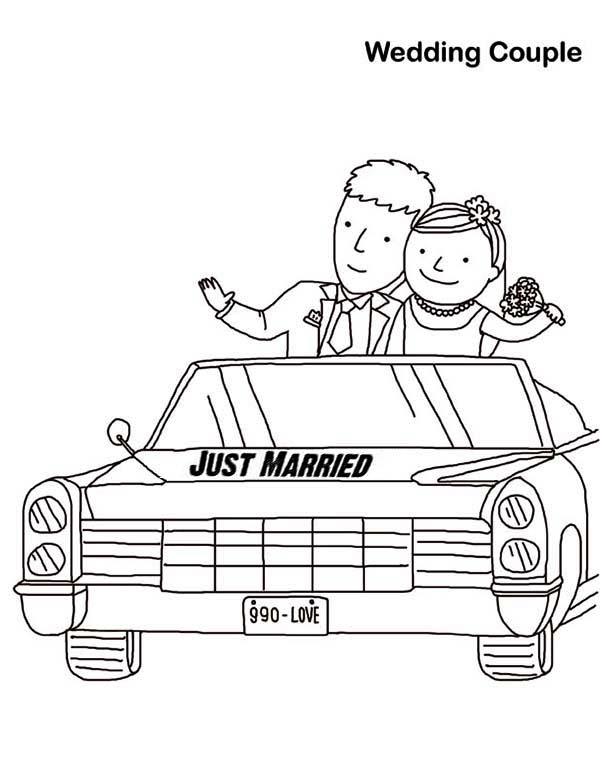 Wedding, : Wedding Couple Just Married Coloring Page