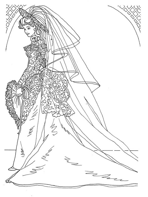 Barbie Doll, : Wedding Day in Bridal Gown Barbie Doll Coloring Page