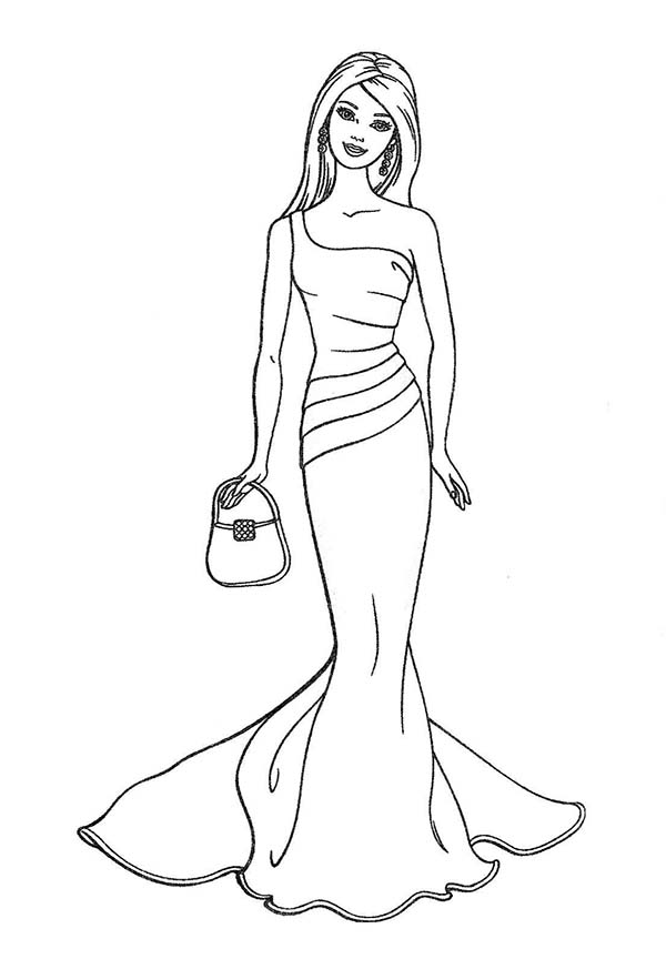 Barbie Doll, : Wedding Dress for Barbie Doll Coloring Page