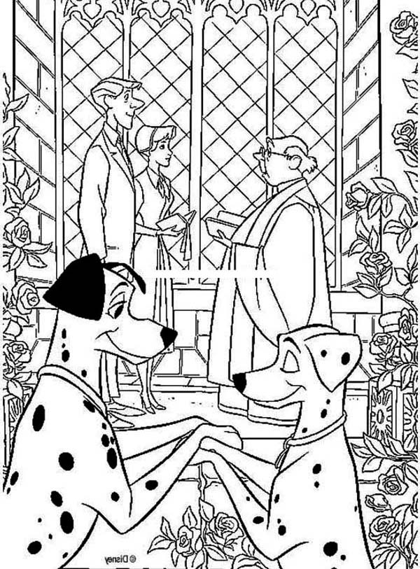 Wedding in 101 Dalmatians Movie Coloring Page | Coloring Sun