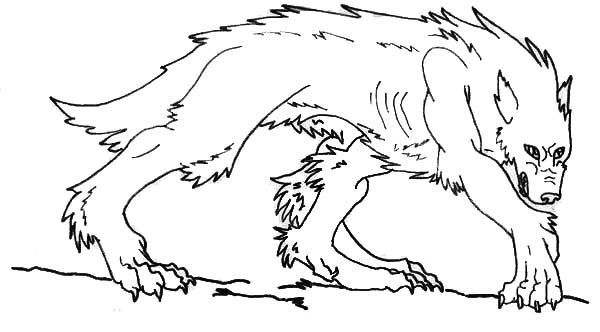 Werewolf, : Werewolf Looking for Prey Coloring Page