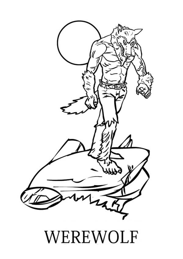 Werewolf, : Werewolf Walking on the Rock Coloring Page