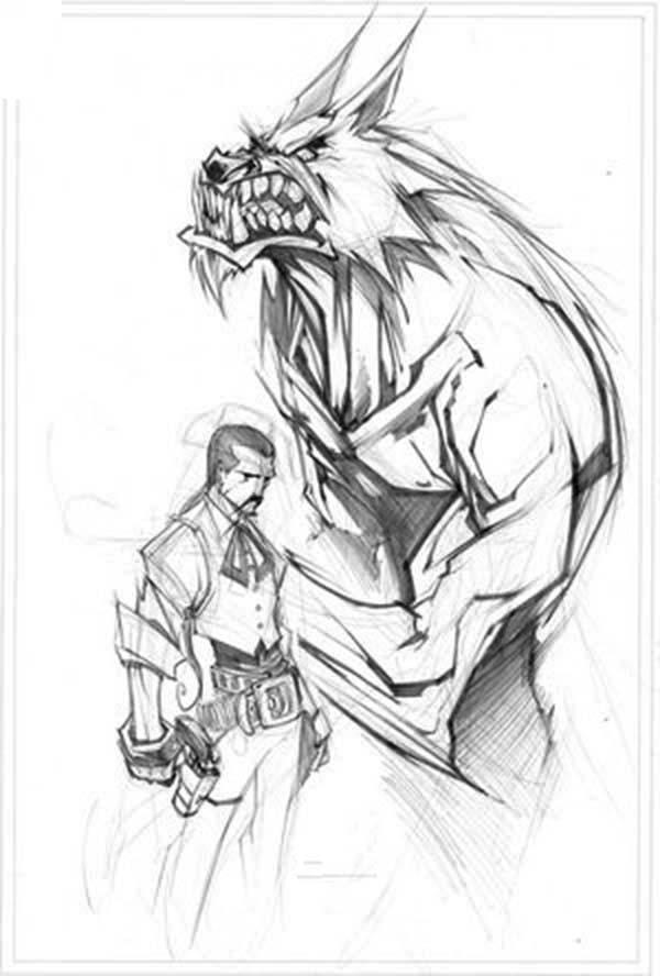 Werewolf, : Werewolf and Werewolf Hunter Coloring Page