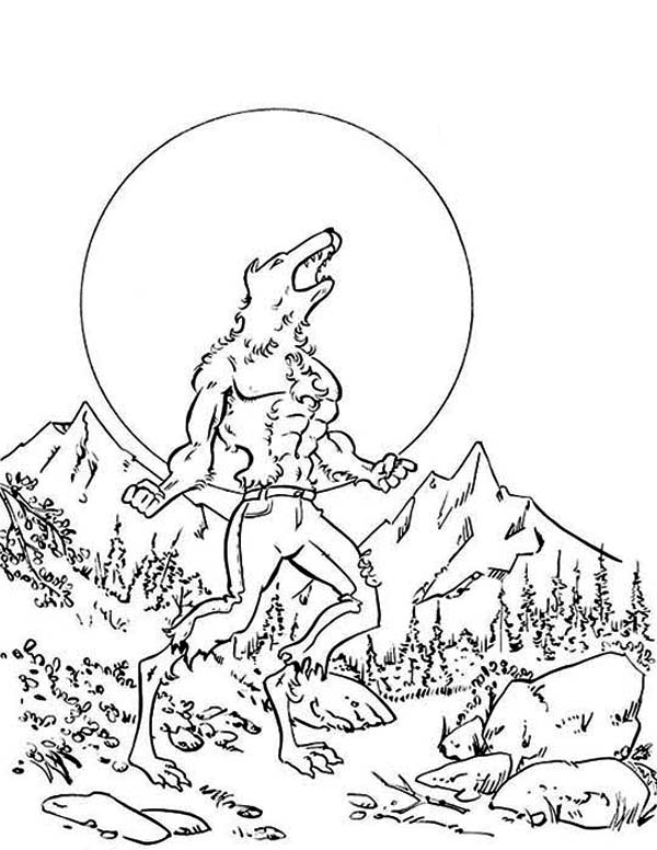 Werewolf, : Werewolf is Hungry for Some Blood Coloring Page
