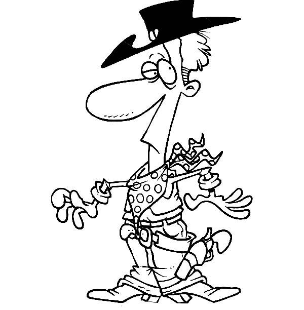 Cowboy, : Western Cowboy Style Coloring Page
