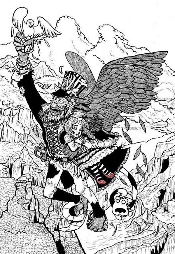 The Wizard of Oz, : Winged Monkey Kidnap Dorothy and Toto in the Wizard of Oz Coloring Page