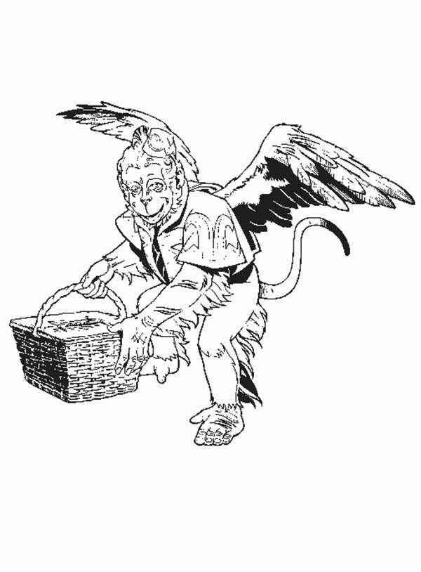 The Wizard of Oz, : Winged Monkey from the Wizard of Oz Coloring Page