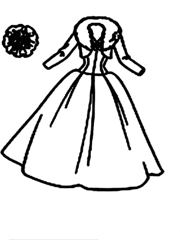 Dress, : Winter Dress Coloring Page