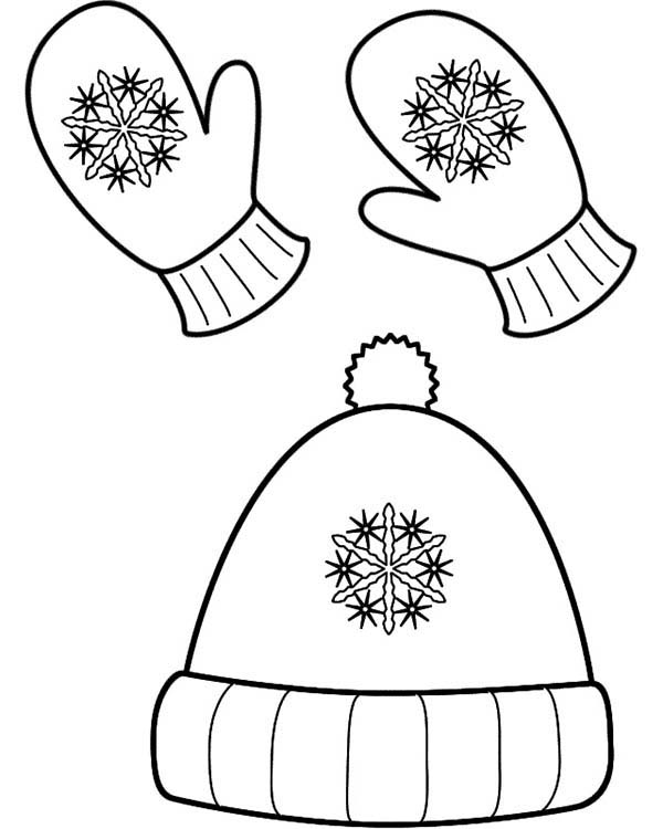 Winter Clothing, : Winter Season Hat and Mittens in Winter Clothing Coloring Page