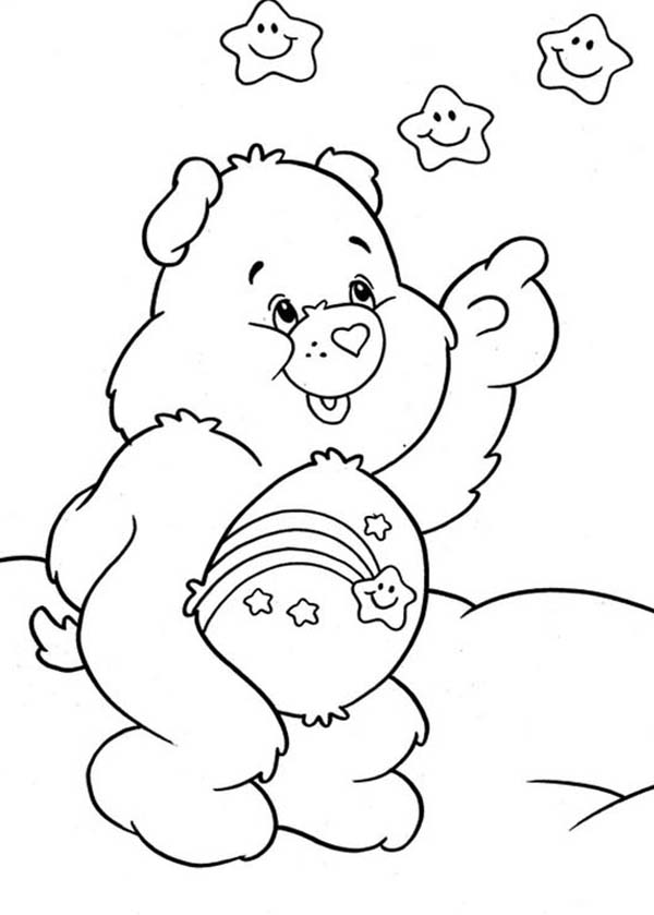 Care Bear, : Wish Bear Pointing at Stars in Care Bear Coloring Page