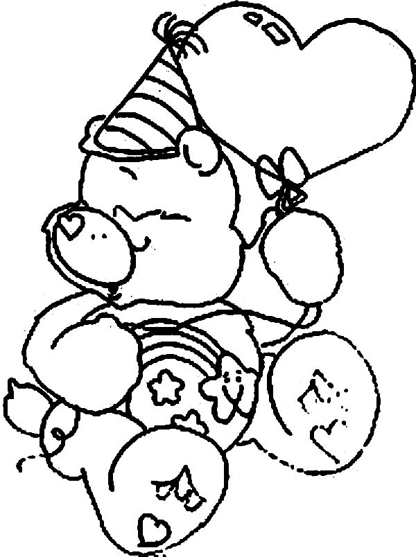 Care Bear, : Wish Bear at Birthday Party in Care Bear Coloring Page