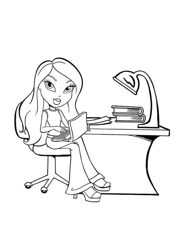 Bratz, : Yasmin Bratz is Studying Coloring Page
