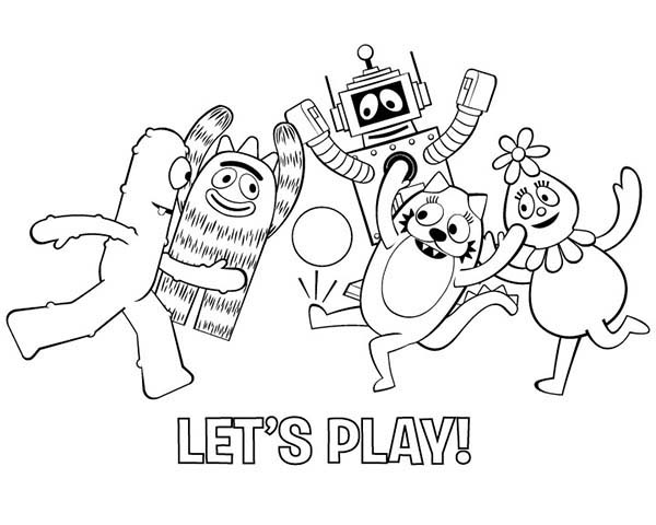 Yo Gabba Gabba, : All Yo Gabba Gabba Characters Playing Football Coloring Page 2