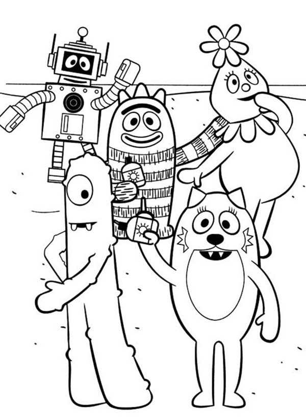 Yo Gabba Gabba, : Yo Gabba Gabba Holiday Vacation at the Beach Coloring Page