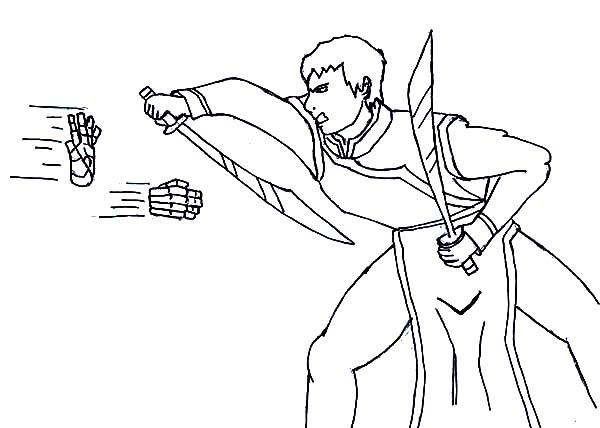 Avatar the Last Air Bender, : Zuko Faced Earth Bending Attack in Avatar the Last Air Bender Coloring Page